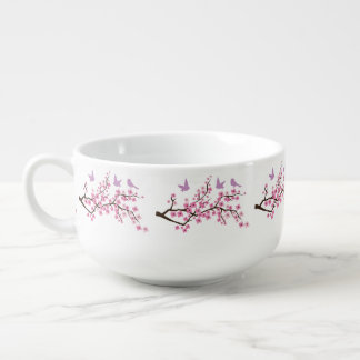 Birds and Cherry Blossoms Soup Bowl With Handle