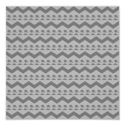 Birds and Chevron Pattern Gray Poster