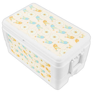 Birds and daisies chest cooler