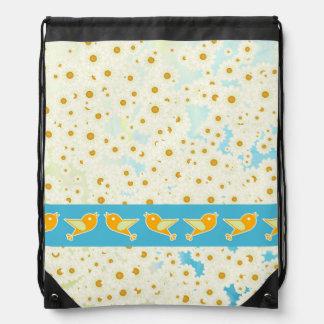 Birds and daisies drawstring bag