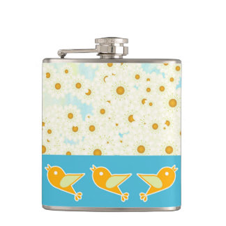 Birds and daisies flasks