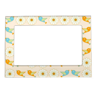Birds and daisies magnetic picture frame