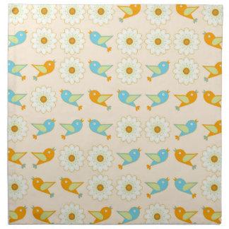 Birds and daisies napkin