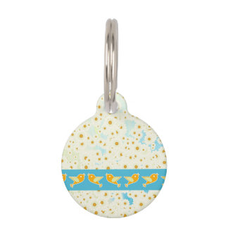 Birds and daisies pet ID tag