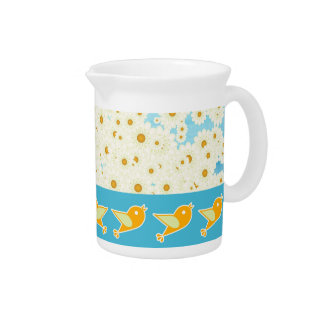 Birds and daisies pitcher