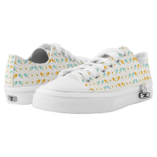 Birds and daisies printed shoes