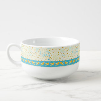 Birds and daisies soup mug