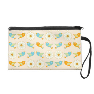 Birds and daisies wristlet