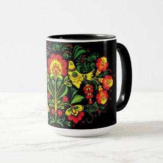 Birds and Floral Folk Art Combo Mug
