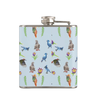 birds and flowers flask