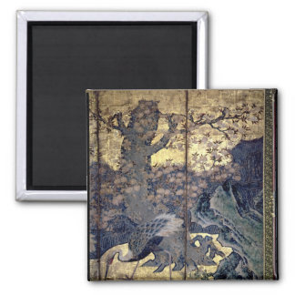 Birds and Flowers of the Four Seasons Square Magnet