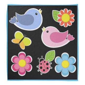 BIRDS AND FLOWERS PATTERN BANDANA
