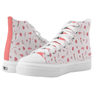 Birds And Flowers Pattern Zipz High Top Shoes Printed Shoes
