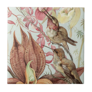 Birds and Flowers Small Square Tile