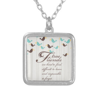 Birds and Friends Square Pendant Necklace