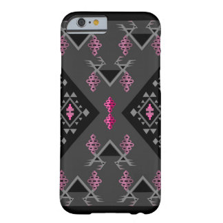 Birds and grapes black and grey kilim pattern barely there iPhone 6 case