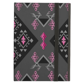 Birds and grapes black and grey kilim pattern iPad air cases