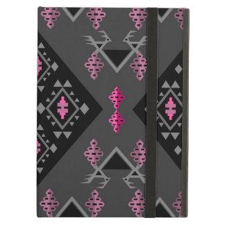 Birds and grapes black and grey kilim pattern iPad air cover