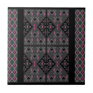 Birds and grapes black and grey kilim pattern small square tile