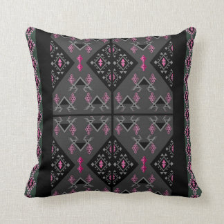Birds and grapes black and grey kilim pattern throw pillow