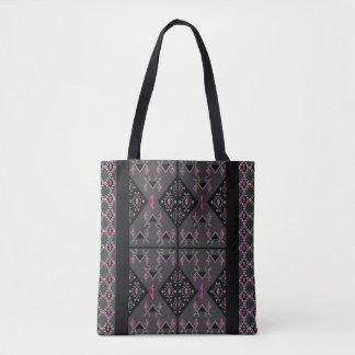 Birds and grapes black and grey kilim pattern tote bag