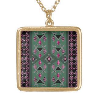 Birds and grapes green and pink kilim pattern gold plated necklace