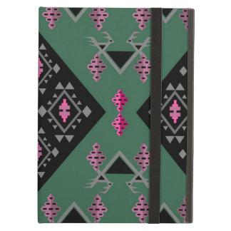 Birds and grapes green and pink kilim pattern iPad air case