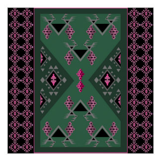 Birds and grapes green and pink kilim pattern poster