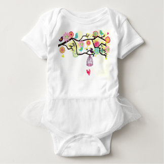 Birds and heart Tutu Onsie Baby Bodysuit