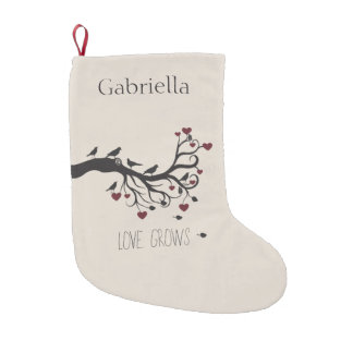 Birds and Hearts Tree Love Grows Small Christmas Stocking