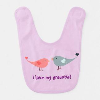 "Birds and ""I love my grauntie!""  tee Bib"