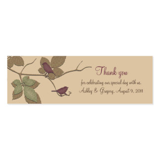 Birds and Leaves Fall Wedding Favor Tags Business Card Template