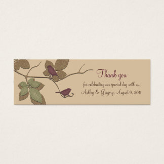 Birds and Leaves Fall Wedding Favor Tags Mini Business Card