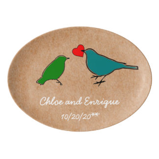 Birds And Love Heart Cute Personalized Wedding Porcelain Serving Platter
