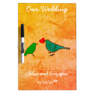 Birds and Love Heart Watercolor Wedding Dry Erase Board