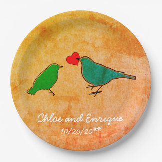 Birds and Love Heart Watercolor Wedding Paper Plate
