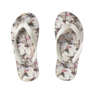 """Birds and Music Notes Collage"" Flip Flops Thongs"
