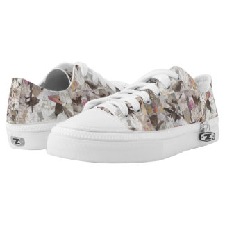 Birds and Music Notes Collage Low Tops Printed Shoes