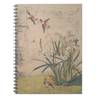 Birds and Narcissus Spiral Notebook