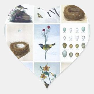 Birds and Nests Heart Sticker