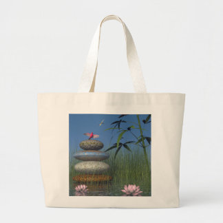 birds and pebble zen large tote bag