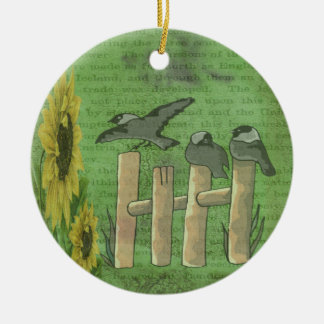 Birds and Sunflowers Double-Sided Ceramic Round Christmas Ornament