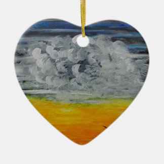 Birds at sunrise ceramic heart decoration