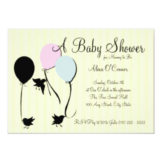 Birds Balloons and Baby 13 Cm X 18 Cm Invitation Card