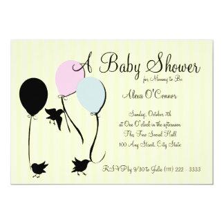 Birds Balloons and Baby 13 Cm X 18 Cm Invitation Card