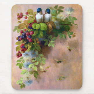 Birds Bees and Berries by DeLongpre Mousepad