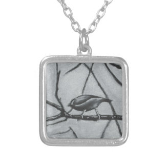 birds, bird , branch , nature , friendship , frien silver plated necklace