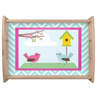 Birds Blue Chevron Serving Tray