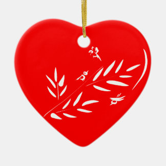 Birds & Branches Valentines Day Red Heart Ornament