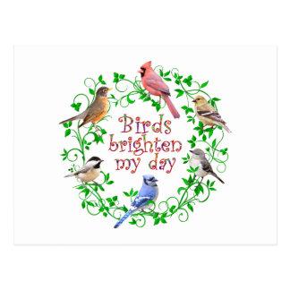 BIRDS BRIGHTEN MY DAY POSTCARD